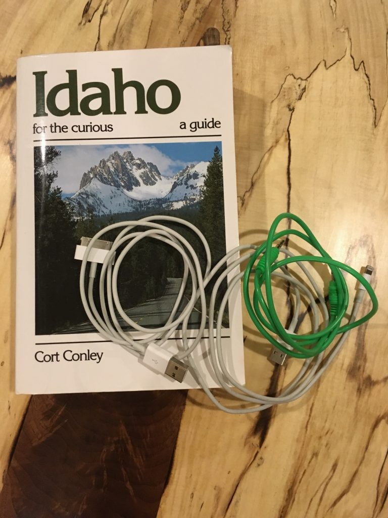 Car rental necessities: guide book and electronics cables