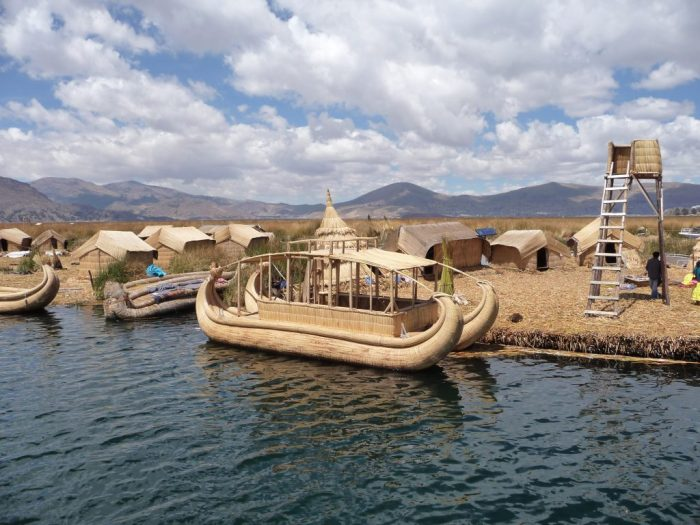 Reed boats and islands on Lake Titicaca