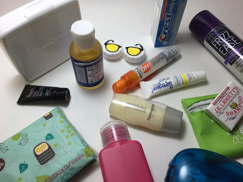 packing light tools, travel-sized toiletries.