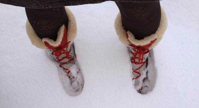 Snow boots in the snow