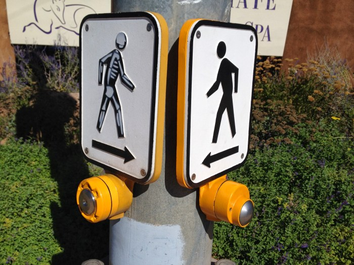 Crosswalk signal in Santa Fe at Halloween