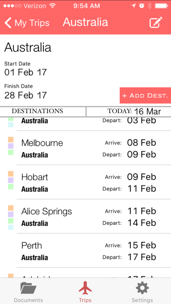 travel app TravlMangr Screen Capture