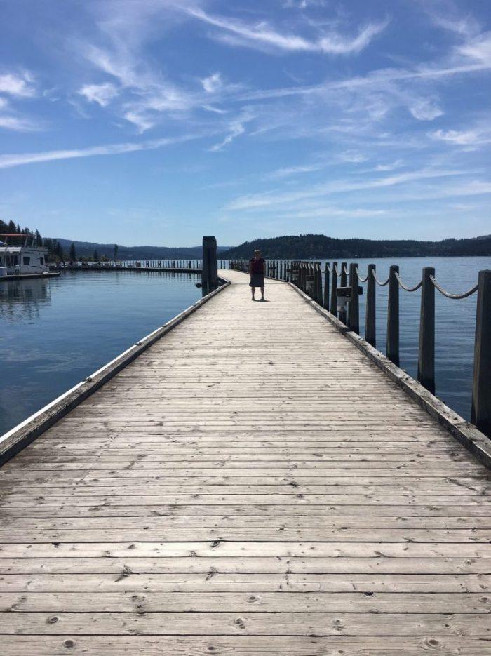 Boardwalk on Lake Coeur d'Alene, blue skies