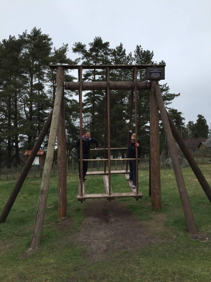 Traditional Estonian wooden swing