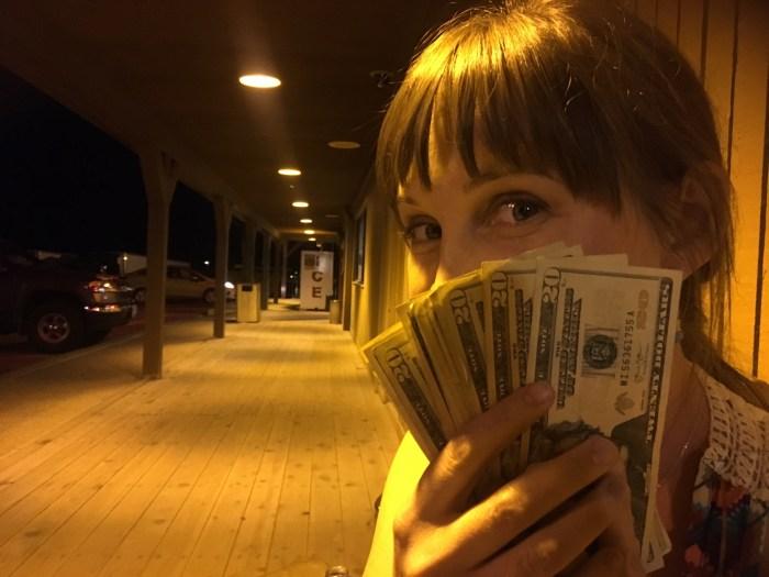 Late night money shot in Jackpot, Nevada casino