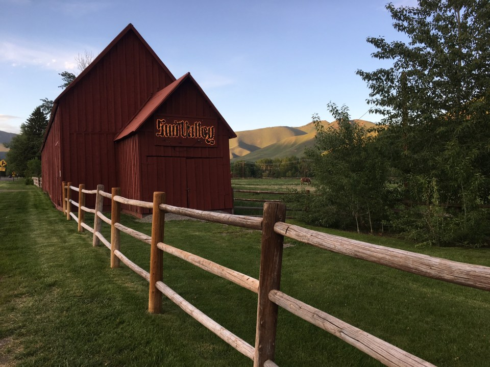 Sun Valley red barn dusk Ketchum Idaho
