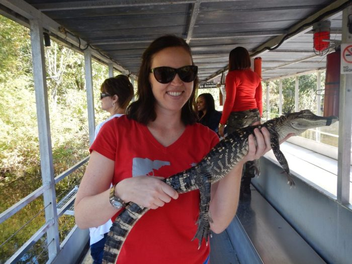 Holding a baby gator in LA