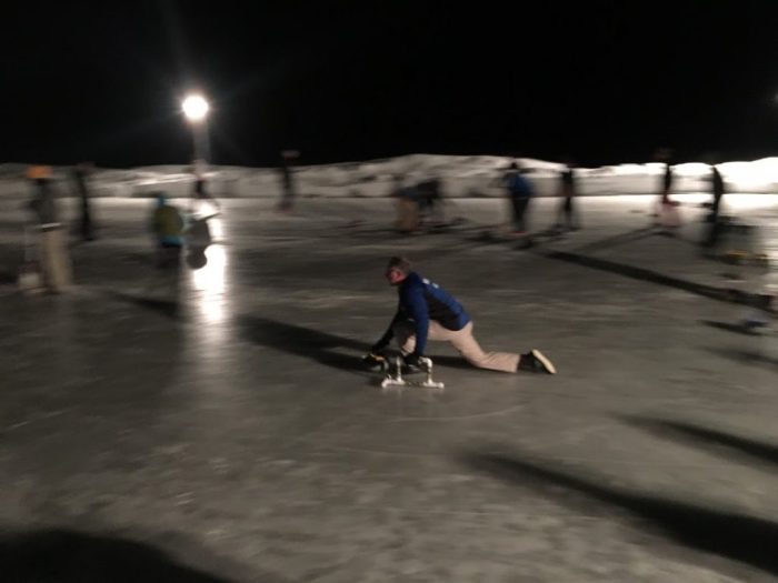 Curling night time in Stanley, Idaho