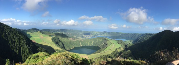 Sao Miguel Island in the Azores, lake, blue skies, travel resolution