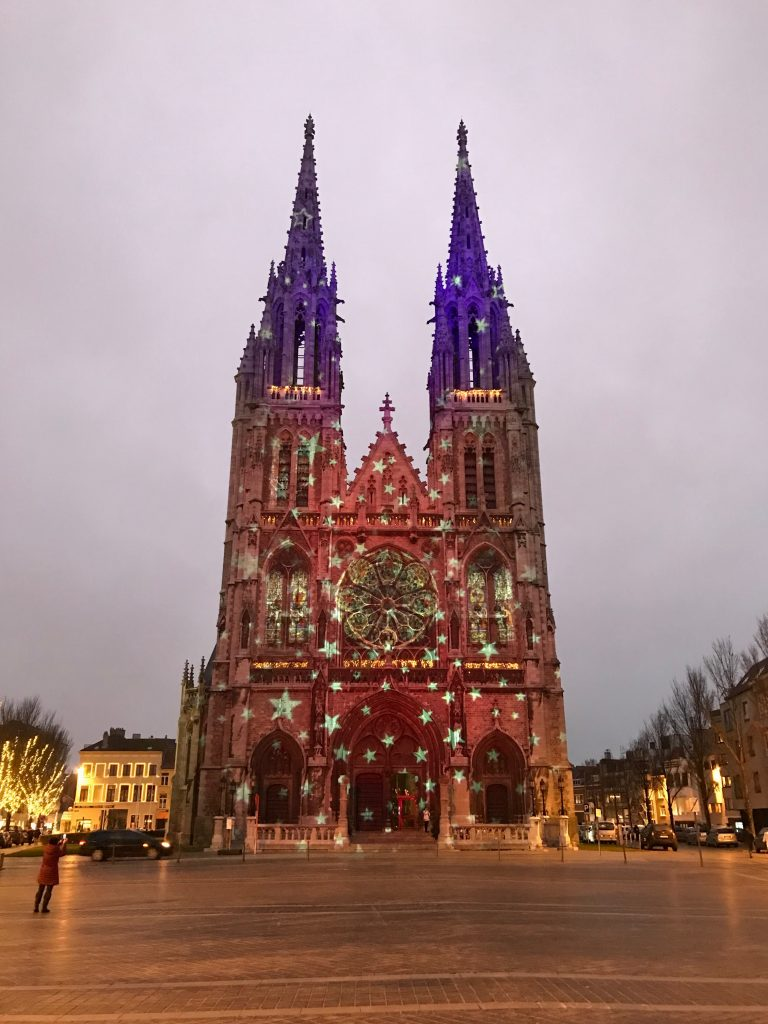 Christmas lights on Ostend Cathedral