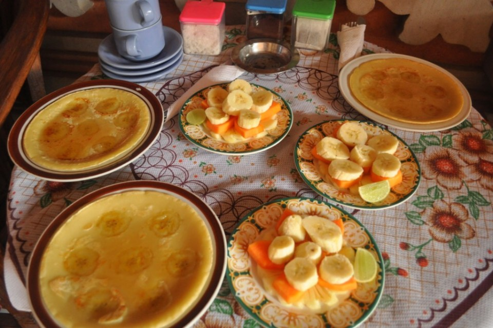 Banana pancakes and fresh fruit
