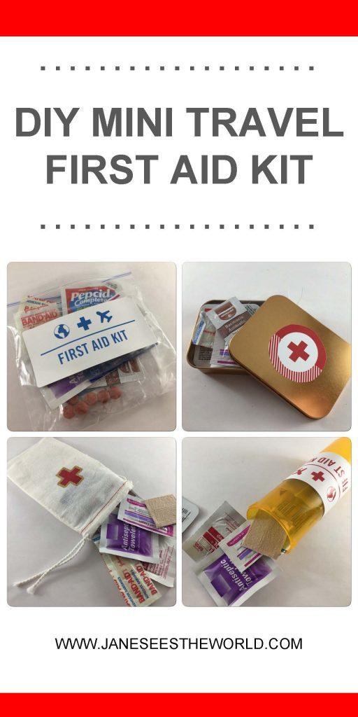 DIY mini travel first aid kit pin or pinterest