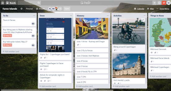 Trello board for planning vacation