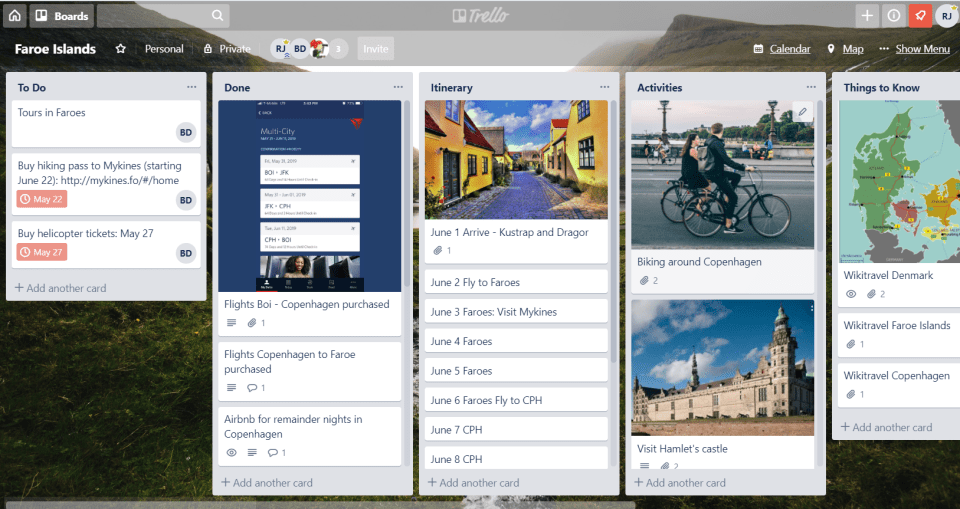 A picture of a trello board used for planning a trip