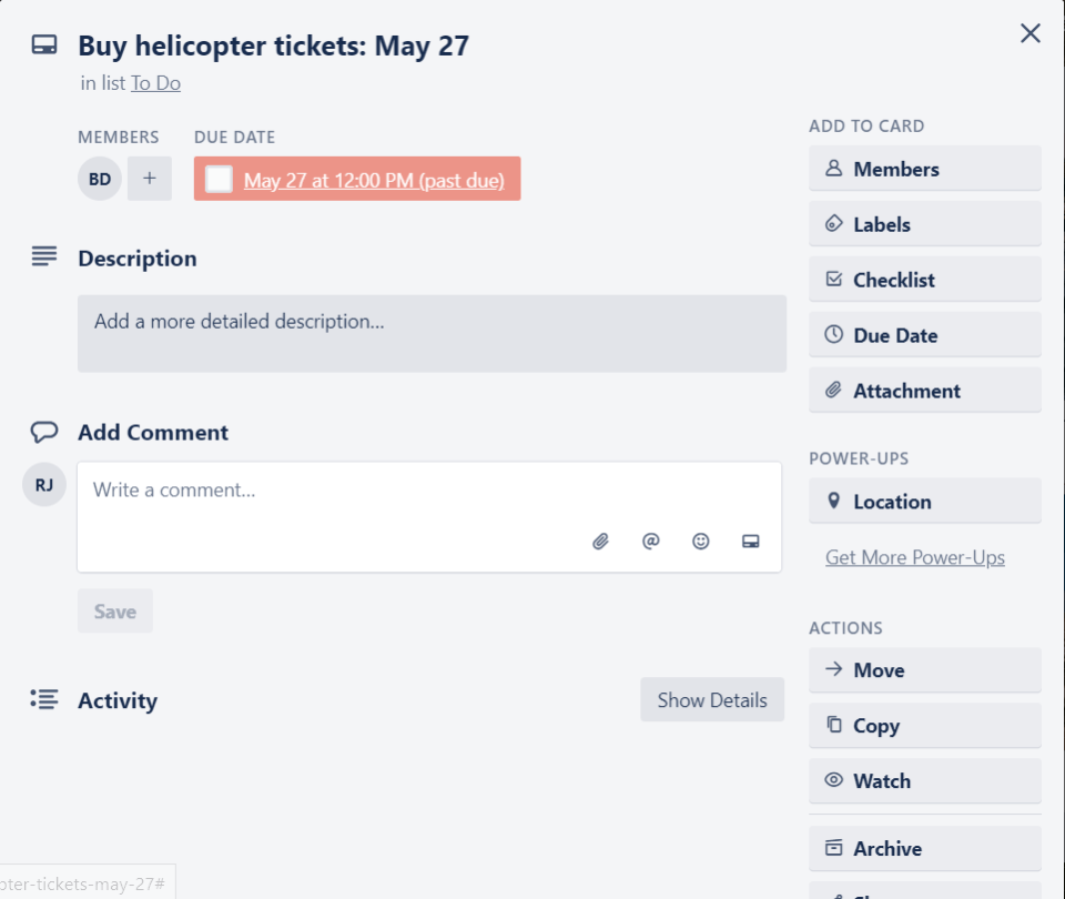 Trello travel board showing due dates.