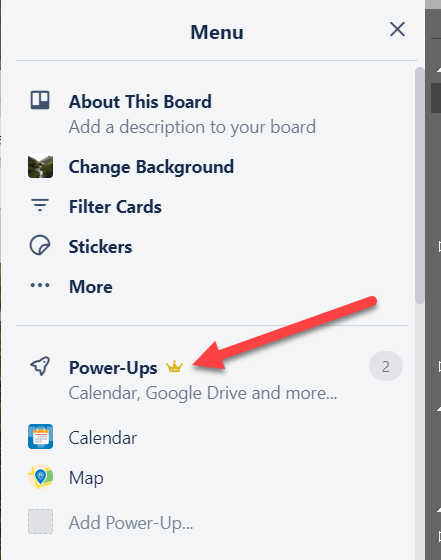 Travel trello board showing power ups.