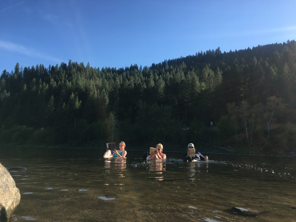 sitting in the clearwater river