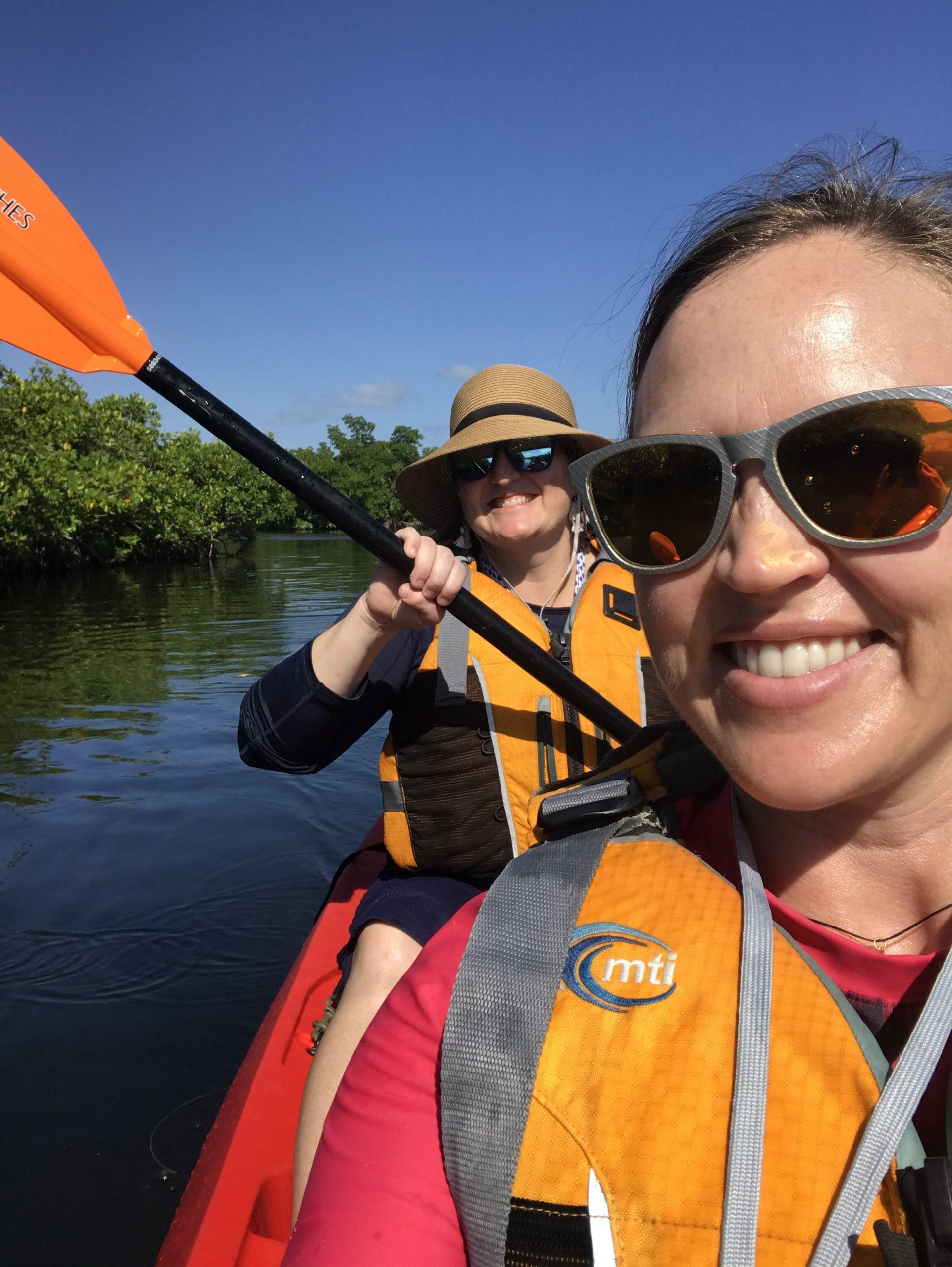 two girls kayaking in Florida