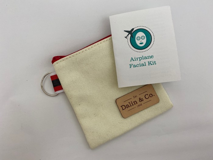 Canvas pouch, custom leather label, printed instructions are all part of a DIY airplane facial kit