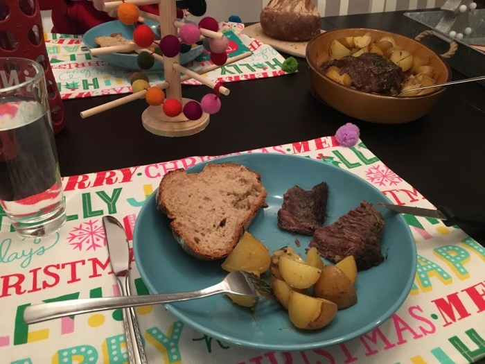 bread, potatoes, roast, Christmas dinner, Germany