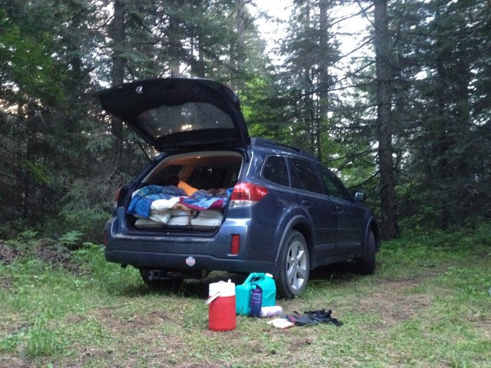 Subaru camping in Mary McCroskey State Park