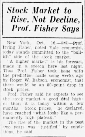 Stock Market to Rise, Not Decline, Prof. Fisher Says