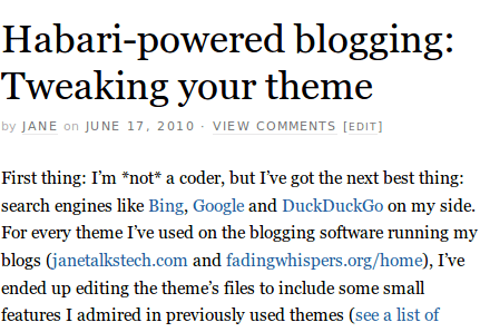 Habari-powered blogging: Tweaking your theme