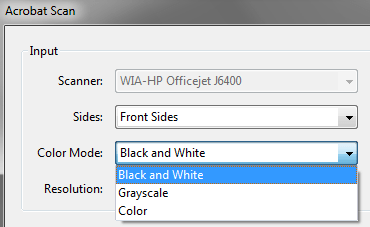 Color Mode for Scanning Documents in Adobe Acrobat Pro 8