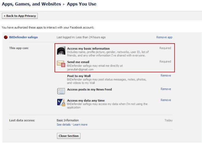 BitDefender Safego Facebook Permissions Requested