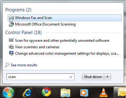 Built-in Windows Fax and Scan