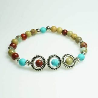 African Opal Sea Sediment Jasper and Turquoise Bead Bracelet