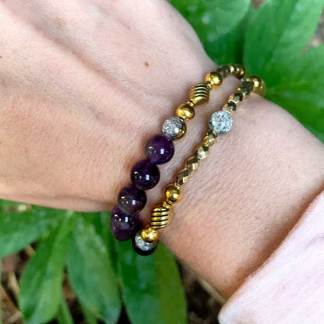 Purple and Gold Stacker Bead Bracelet