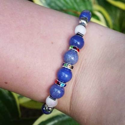 Blue Striped Agate and Pearl Druzy Bead Bracelet