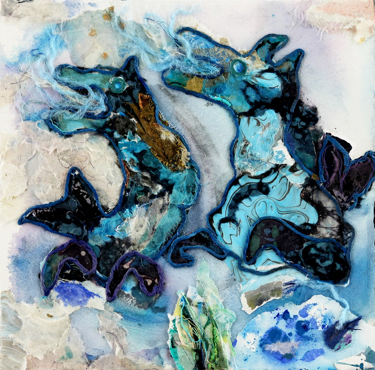 Sea Horses ©2012 by Janet Brugos  Mixed Media
