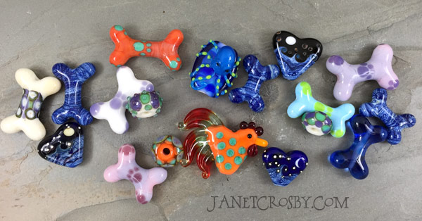 A mix of lampwork beads