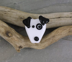 Black and White Glass Dog Bead