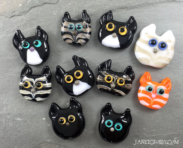 Glass Kitty Face Beads