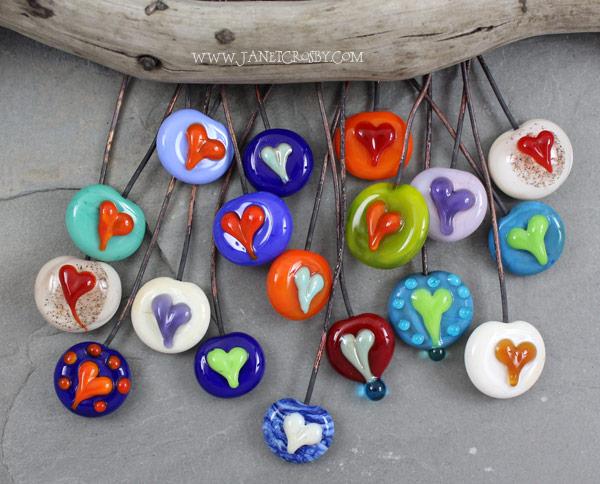 Glass Heart Headpins