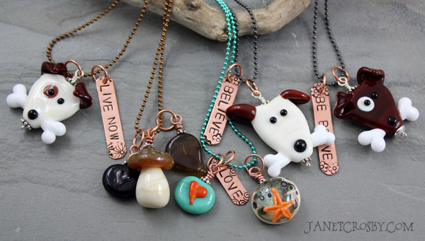 Handmade glass bead necklaces by Janet Crosby
