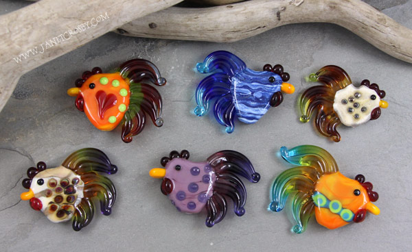 Rooster Glass Beads