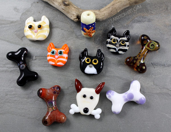Cats and Dogs and Bones - lampwork beads