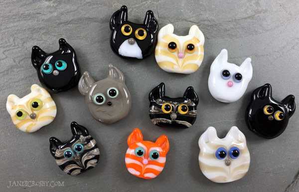 Cat face beads by Janet Crosby