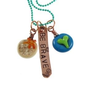Be Brave - Heart and Starfish Necklace by Janet Crosby