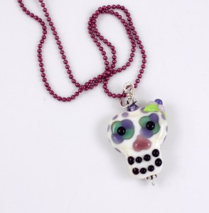 Floral Sugar Skull Glass Bead by Janet Crosby