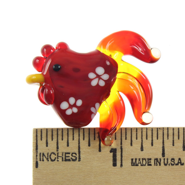 Flaming Flowers Rooster by Janet Crosby