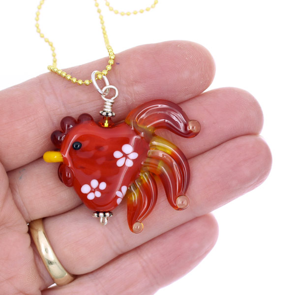 Flaming Flowers Rooster Necklace by Janet Crosby