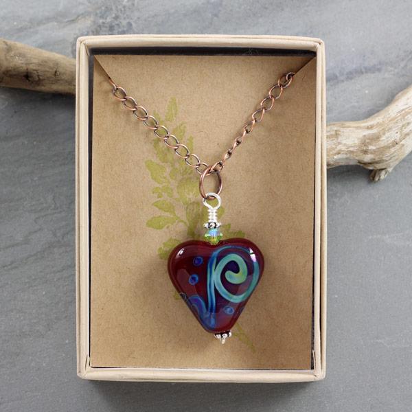 Ocean Love Heart Necklace by Janet Crosby