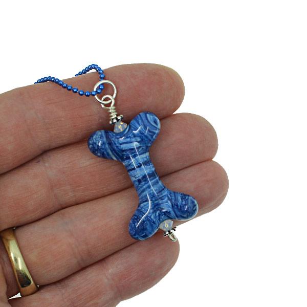 Denim Dog Bone Necklace by Janet Crosby