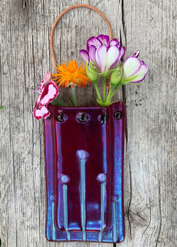 Red Moonflowers -- Fused Glass flower vase by Janet Crosby