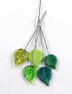Green Leaf Headpins by Janet Crosby
